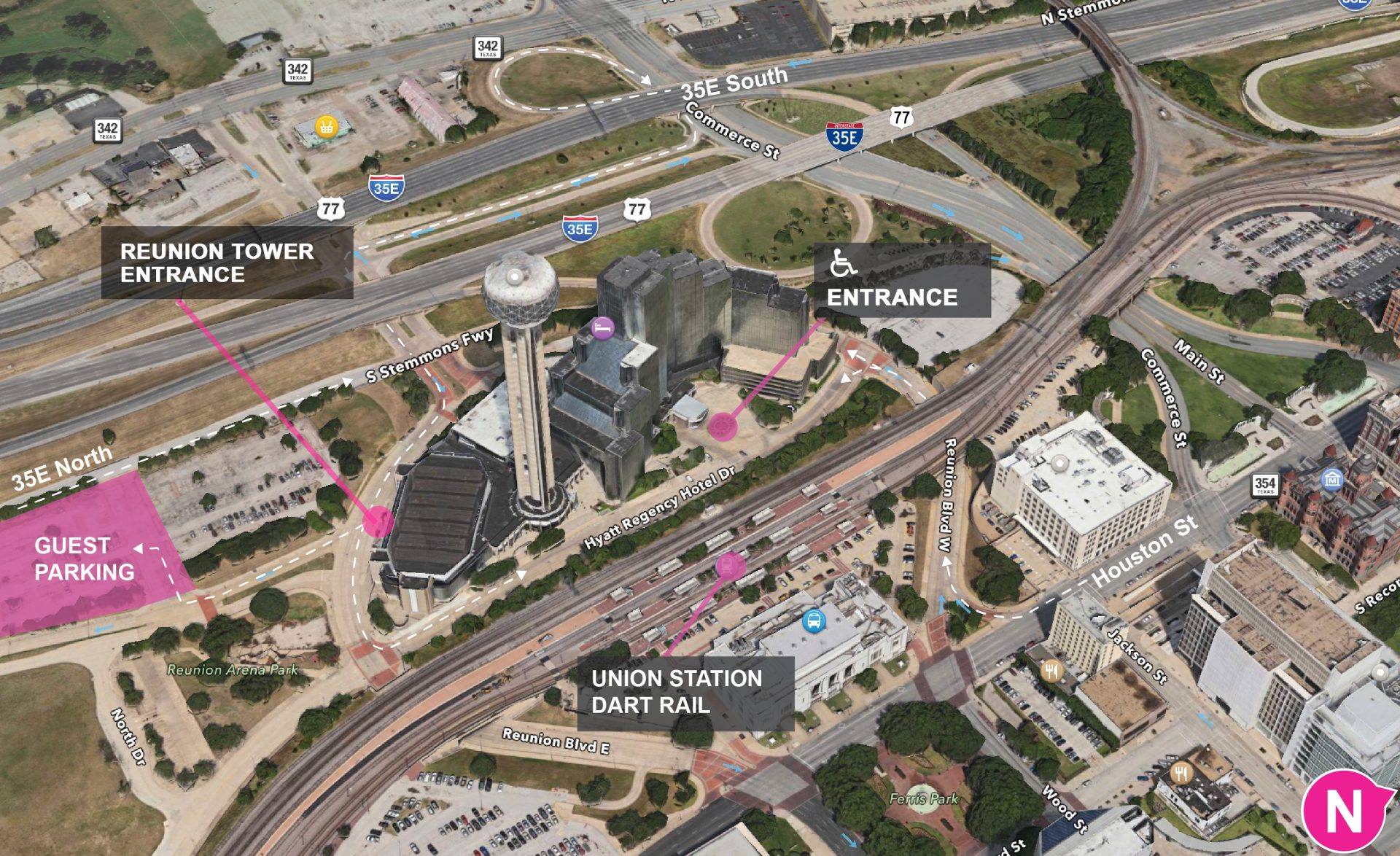 Parking and Dart Options Reunion Tower